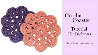 getlinkyoutube.com-Crochet Coaster For Beginners Tutorial
