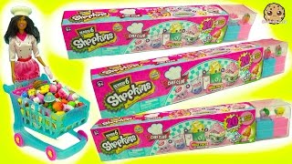 getlinkyoutube.com-Chef Barbie Shops for 60 Season 6 Shopkins - 20 Mega Packs with Surprise Recipe Club Blind Bags