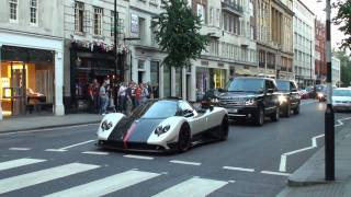 getlinkyoutube.com-Pagani Zonda Cinque Roadster - Furious Revs, Hard acceleration!! Little DRIFT!