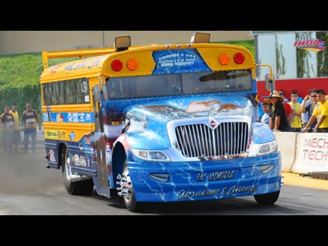 School Bus Vs. Semi Truck Drag Racing Running 11sec.
