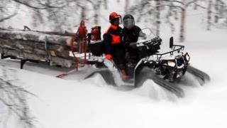 getlinkyoutube.com-Polaris 550 Prospector tracks & Atv-Expert Timber Pro 600 skiset