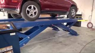 getlinkyoutube.com-Scissor Car Lift from BendPak: XR-12000 Quatra Automotive Shop Installation Raising a Lexus