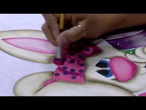 Mulher.com 06/03/2015 Pintura em tecido coelho por Lilinha Silva Parte 1