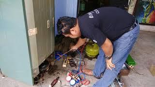 Cara mengisi freon kulkas 2PINTU memakai gas LPG