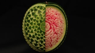 getlinkyoutube.com-Open Your Heart Watermelon Rose - Advanced Lesson 12 By Mutita The Art In Fruit Vegetable Carving