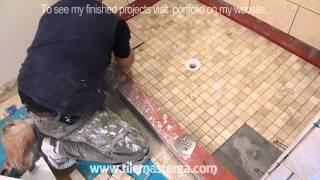 "getlinkyoutube.com-Part ""4"" How to tile shower Floor - Shower Pan mud bed & preparation DIY"