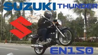 getlinkyoutube.com-Suzuki Thunder EN150-A Review GSR150 150cc 6 speed transmission Naked Motorcycle Street Bike Wheelie