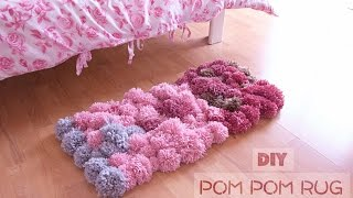 DIY Pom Pom Rug (no glue) - Bedroom Decor Tutorial width=