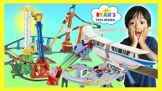 getlinkyoutube.com-BIGGEST TOY TRAINS TRACK FOR KIDS Thomas & Friends Trackmaster Accidents will Happen Disney Cars
