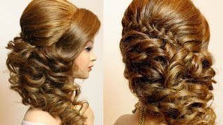 getlinkyoutube.com-Curly prom wedding hairstyle with braid for long hair tutorial