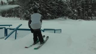 getlinkyoutube.com-How To Hit An Urban Rail On Skis (Rail From The Side)
