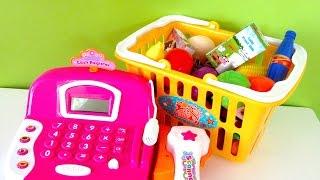 getlinkyoutube.com-Learn names of fruit and vegetables toys with Cash Register Elsa & Rapunzel doll!