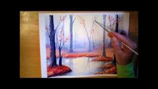 getlinkyoutube.com-Autumn Forest in Watercolor - painting process time lapse