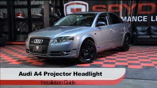 getlinkyoutube.com-Spyder Auto Installation: 2006-08 Audi A4 LED DRL Projector Headlights