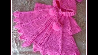 getlinkyoutube.com-Вяжем спицами - розовая накидка для девочки. Часть 1