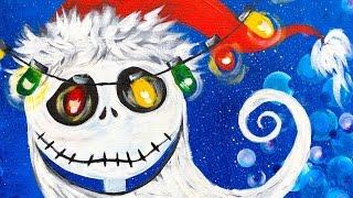 getlinkyoutube.com-Jack Skellington Sandy Claws Acrylic Painting for Beginners