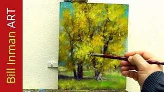 getlinkyoutube.com-Learn to Paint Cottonwood Trees - Oil Painting 'Hammock Stand' Fast Motion by Bill Inman