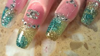 getlinkyoutube.com-HOW TO COFFIN SHAPE OMBRE GLITTER NAILS