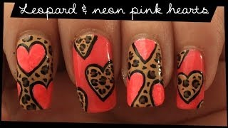 getlinkyoutube.com-Leopard & Neon Pink Hearts nail art