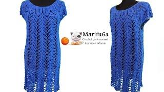 getlinkyoutube.com-How to crochet blue dress tunic tutorial pattern by marifu6a