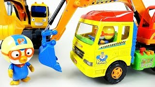 getlinkyoutube.com-Pororo Tayo toys 뽀로로 포크레인 타요 헬로카봇 폴리 미니특공대 장난감 Pororo Tayo the little bus HeavyEquipment carToy