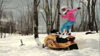 getlinkyoutube.com-Bailey Duran, 6, Having Some Winter Fun Snowboarding and Snowmobiling