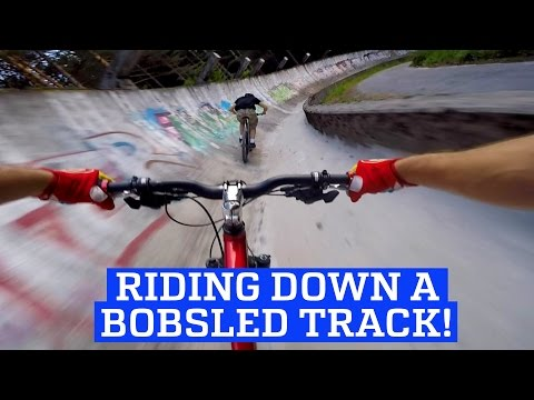 MTB Downhill Mountain Bike on a Bobsled Track!   People Are Awesome 2017