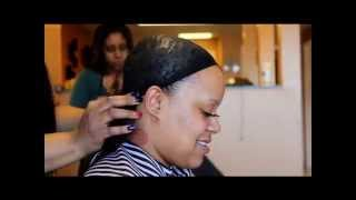 getlinkyoutube.com-Application of quickweave with closure for a bob hairstyle- TUTORIAL