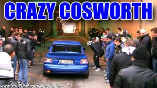 getlinkyoutube.com-MAD Escort RS Cosworth Scares the crowd! Flames + Burnout