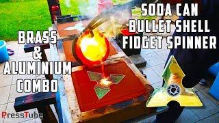 Casting 3 layer Fidget Spinner from Soda Cans and Bullet Shells | Brass & Aluminium | PressTube width=
