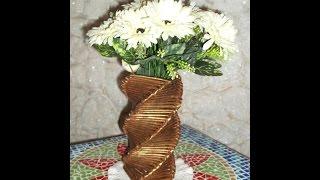 Artesanato: Vaso quadrado torcido feito com jornal e papelão