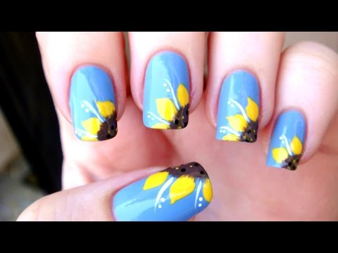 SUNFLOWER NAIL ART TUTORIAL! -zRdkEGUlfrA