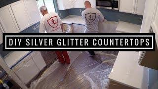 getlinkyoutube.com-Silver glitter countertop coating with Leggari Products countertop kit.