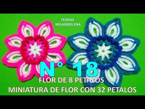 Flor tejida a crochet de 8 pétalos paso a paso miniatura de Flor con 32 pétalos