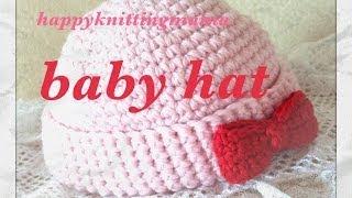 getlinkyoutube.com-赤ちゃんニット帽の編み方☆baby hat☆細編みで簡単に♪Crochet☆鉤針入門☆かぎ針編み
