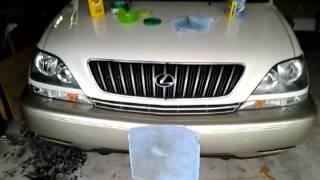 getlinkyoutube.com-Lexus RX300: best way to clear yellowed headlights fast & easy.