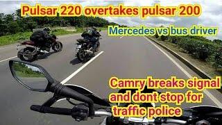 getlinkyoutube.com-Pulsar 220 overtakes pulsar 200NS   Mercedes vs Bus driver   Camry vs traffic police.