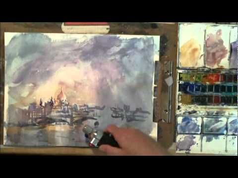 Loose Impressionist Watercolor Painting Demonstration Thames and St. Pauls