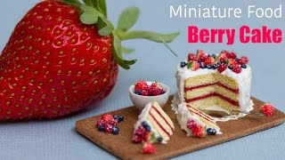 getlinkyoutube.com-Miniature Berry Cake with Strawberries // Fimo Polymer Clay Cake
