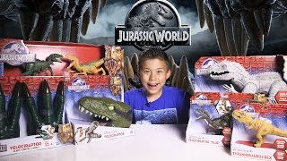 getlinkyoutube.com-JURASSIC WORLD SUPRISE BOX! Indominus Rex, Velociraptor 4-Pack, Raptor Claws and more!