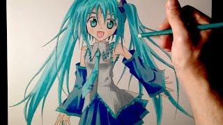 getlinkyoutube.com-Cómo dibujar a Hatsune Miku con lápices de colores | Tutorial