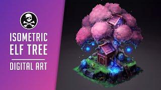 Isometric Elf Tree • Digital Drawing Process | by Sephiroth Art