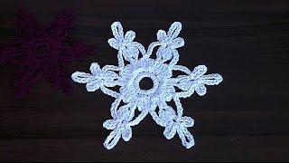 getlinkyoutube.com-VERY EASY  Сrochet snowflake Tutorial