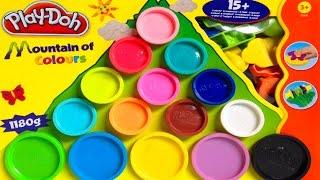 getlinkyoutube.com-Play Doh Mountain of Colours Playset Hasbro Toys Playdough Rainbow Shapes and Molds
