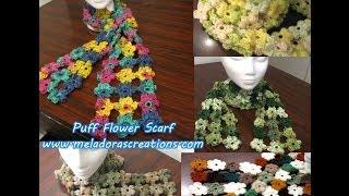 getlinkyoutube.com-Crochet Puff Stitch Flower Scarf - Crochet Tutorial