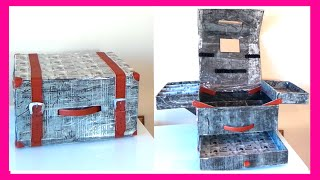 getlinkyoutube.com-Como hacer un maletín organizador de maquillaje con cajas de cartón, manualidades fáciles