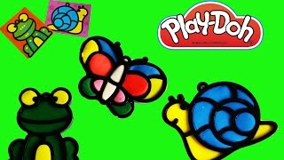 getlinkyoutube.com-PLAY DOH THREE SHAPES SNAIL, FROG, AND BUTTERFLY ROOM HANGERS