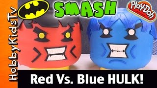 Giant Play-Doh Lego Head RED Vs. BLUE HULK Makeover! BatMan Smash! Surprise Toy by HobbyKidsTV