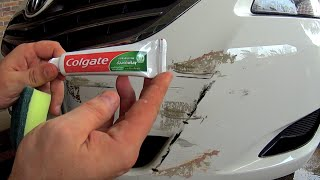 getlinkyoutube.com-How to remove scratches from the car at home Using toothpaste - How to Fix scratches on car