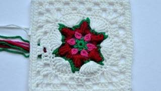 "getlinkyoutube.com-Advent Calendar * December 22 * Granny Square ""Poinsettia"""